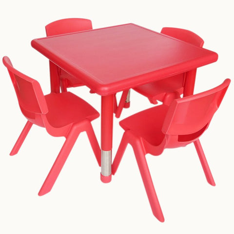 Kidicare Square table red with 4 plastic chairs