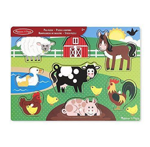 Melissa & Doug - Farm Peg Puzzle 8 pieces