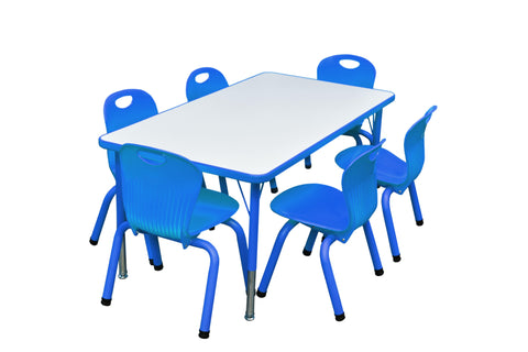 Kidicare - Ensemble table rectangulaire (24 x 48'') - 6 chaises tubulaires