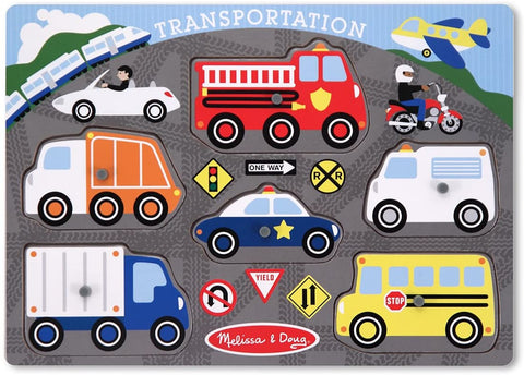 Melissa & Doug - Transportation Vehicles Wooden Peg Puzzle 6 pieces