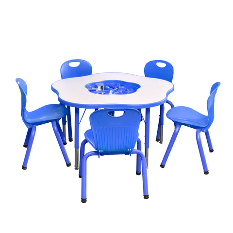Kidicare - Cloud Table Set - 5 Tubular Chairs