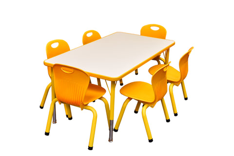 Kidicare - Daycare Table and Chairs Set - Rectangular Table (24 x 48'') and 6 Tubular chairs