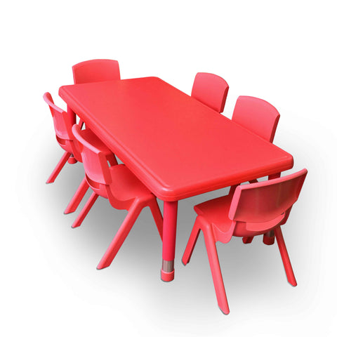 Kidicare - Plastic Table Set (24 x 48'') - 6 Plastic chairs