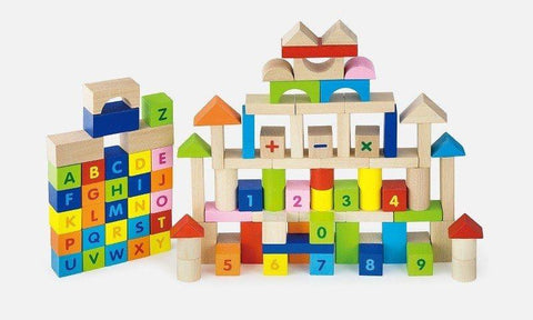 Viga - 100 pcs Block Set - Alphabet & Numbers