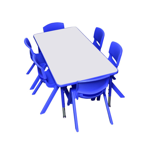 Kidicare - Rectangular Table Set (24 x 48'') - 6 Plastic chairs