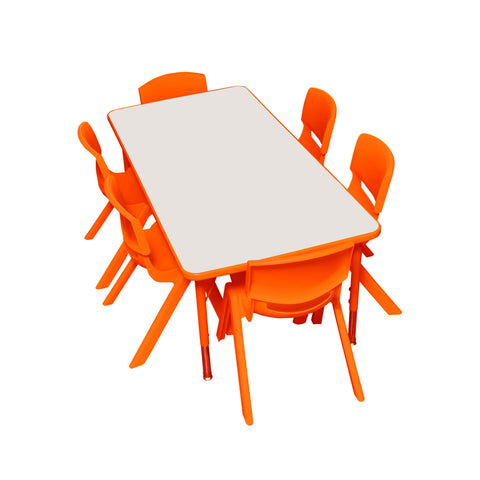 Kidicare - Daycare Table and Chairs Set - Rectangular Table (24 x 48'') and 6 Plastic chairs