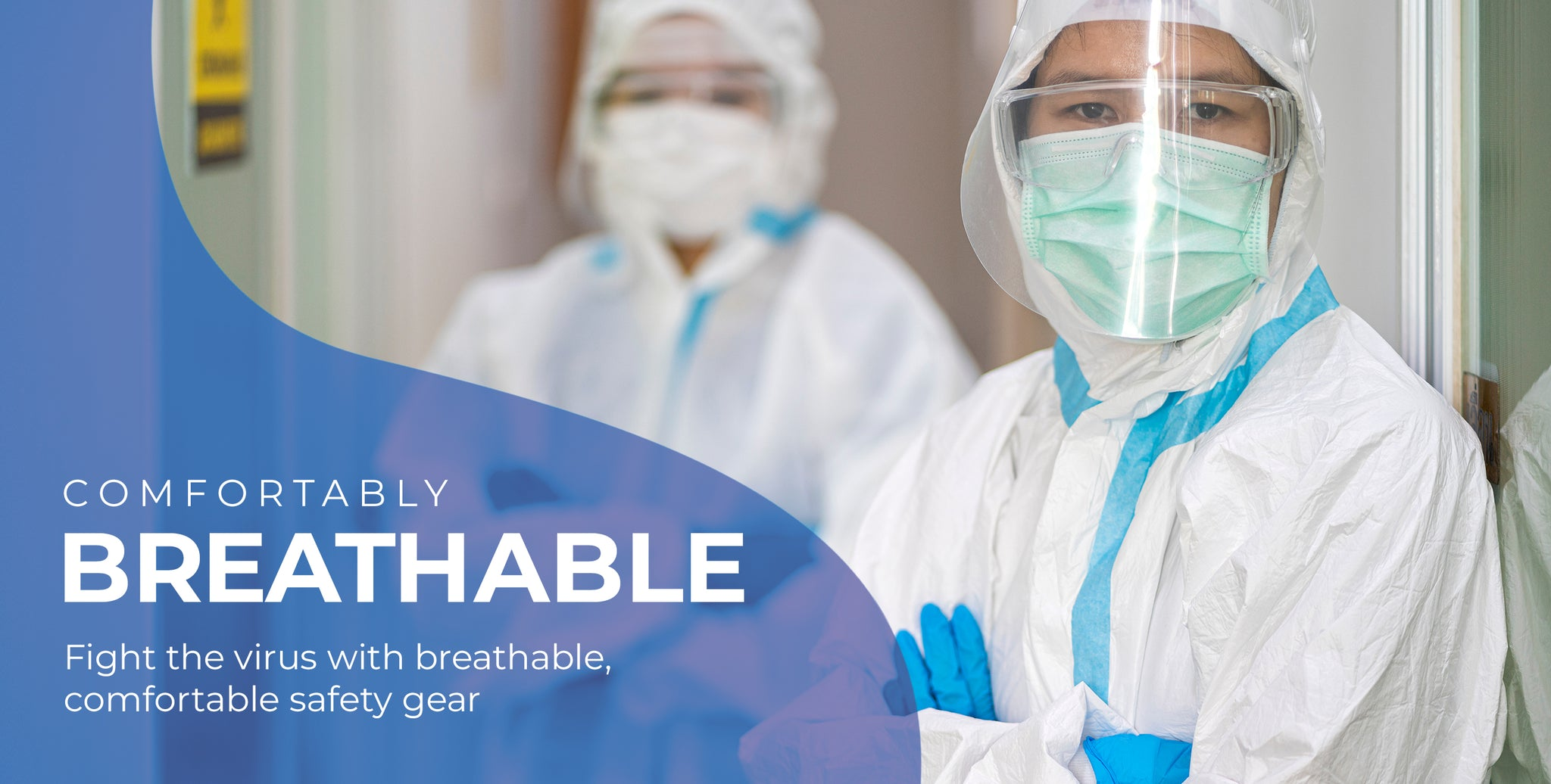 Comfortable Medical Coveralls, PPE Kit, personal protection gear, that is used by medical safety gear.