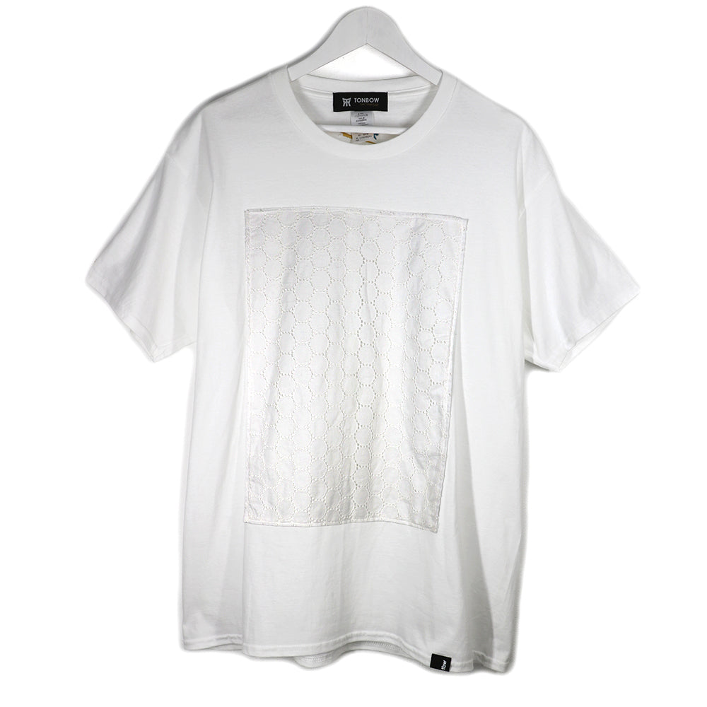 LACE PANEL TEE -WHITE-