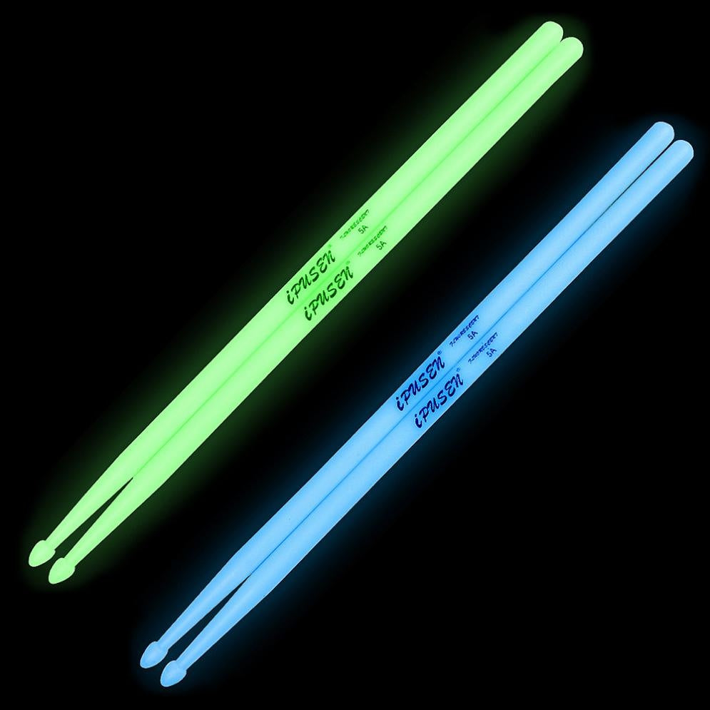 Noctilucent 5A Drum Stick Glow in The Dark Stage Performance Luminous Drumsticks Green/Blue