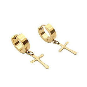 1 pair Stainless Steel Cross Dangle Hinged Hoop Earrings Piercing For Men Women Jewelry