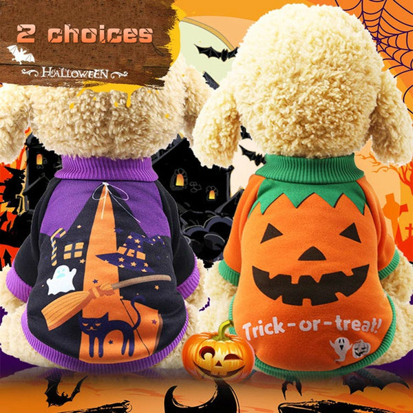 Pet Accessories Pet Outfits Funny Halloween Pumpkin Pet Cat Dog Clothes Small Dogs Chihuahua Autumn and Winter Warm Coat Jackets Soft Cotton Sweater Pet Clothing XS-XXL