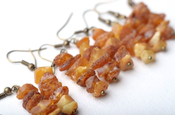 cluster raw amber earrings boho jewelry