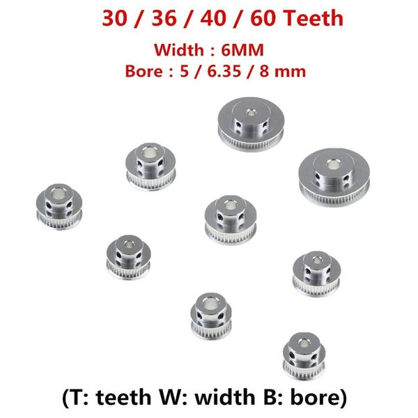 GT2 Timing Pulleys 30 36 40 60 Tooth Wheel Bore 5mm 8mm Aluminum Gear Teeth Width 6mm Parts For Reprap 3D Printers Part New