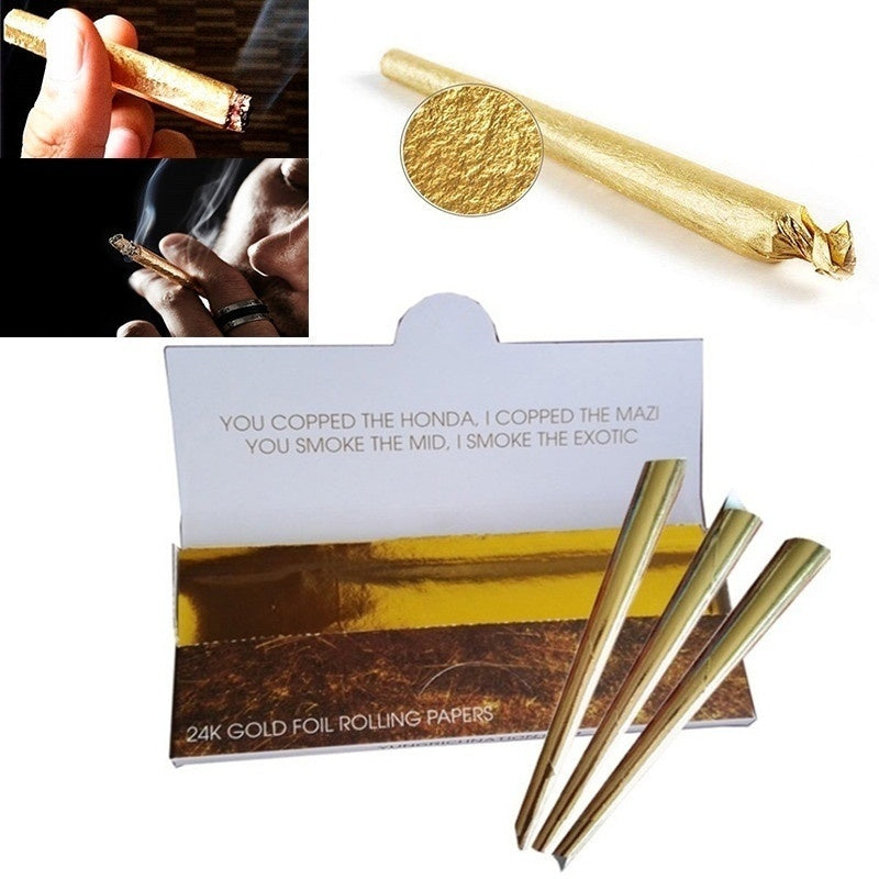 10pcs Gold Cigarette Smoking Tobacco Pre-Rolled Rolling Paper