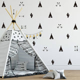 46pcs/set Teepee Tent Arrow DIY Decals Strong Self-adhesive Wall Sticker For Kids Baby Nursery Wall Decor Stickers Vinyl