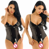 Women's Wet Look Patent Leather Deep V-neck Backless Bodysuit High Cut Clubwear Dresses