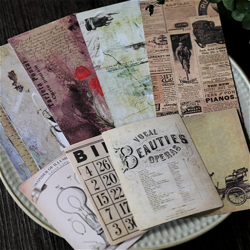 Junkjournal Diary Decoration Material Vintage Bullet Journal Notebook Double-sided Nostalgic Texture Card 24 pcs
