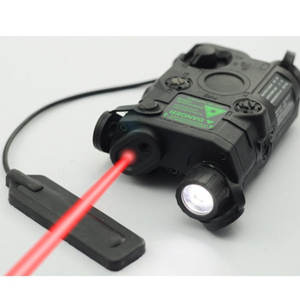 1Pcs AN/PEQ-15 Red Dot Laser White LED Flashlight 270 Lumens for Standard 20mm Rail Night Vision Hunting Rifle Battery Case