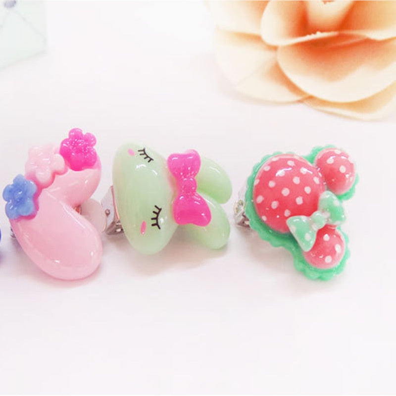 Fashion 10Pcs/5Pair Lovely Cartoon Children Jewelry Baby Girl Earrings Kids Ear Clip on Pierced Painless Earrings kid Ear Nail gift