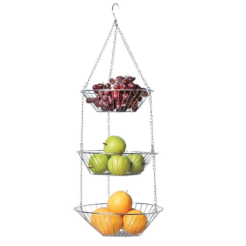 Three-Tier Hanging Wire Vegetable Fruit Storage Basket Home Kitchen Metal Vegetable Storage Organizer Basket 3-Layer Baskets