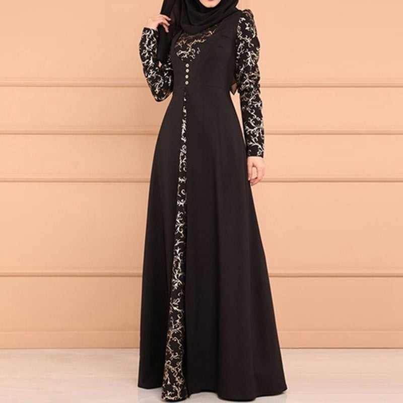 New Arrival Muslim Women Printed Fake Two Pieces Gown Dress Slim Long Sleeve Arabian Style Robe Dress For Islam Ladies