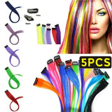 5Pcs/Package Long Straight Clip In One Piece Hair Extensions 20' 50cm Synthetic Hair Pink Red Blue Clip On Hair Pieces Women Girls