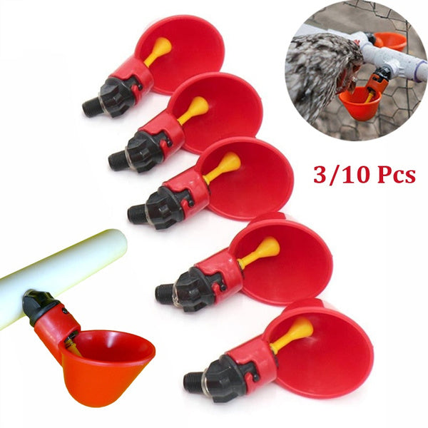 3/10 PCS Bird Chicken Duck Pigeon Automatic Nipple Drinkers Screw Style Poultry Drinking Bowls Feeders