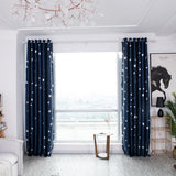 Silver Star Blackout Curtains Living Room Bedroom Curtain Decorative Drapes For Bedroom