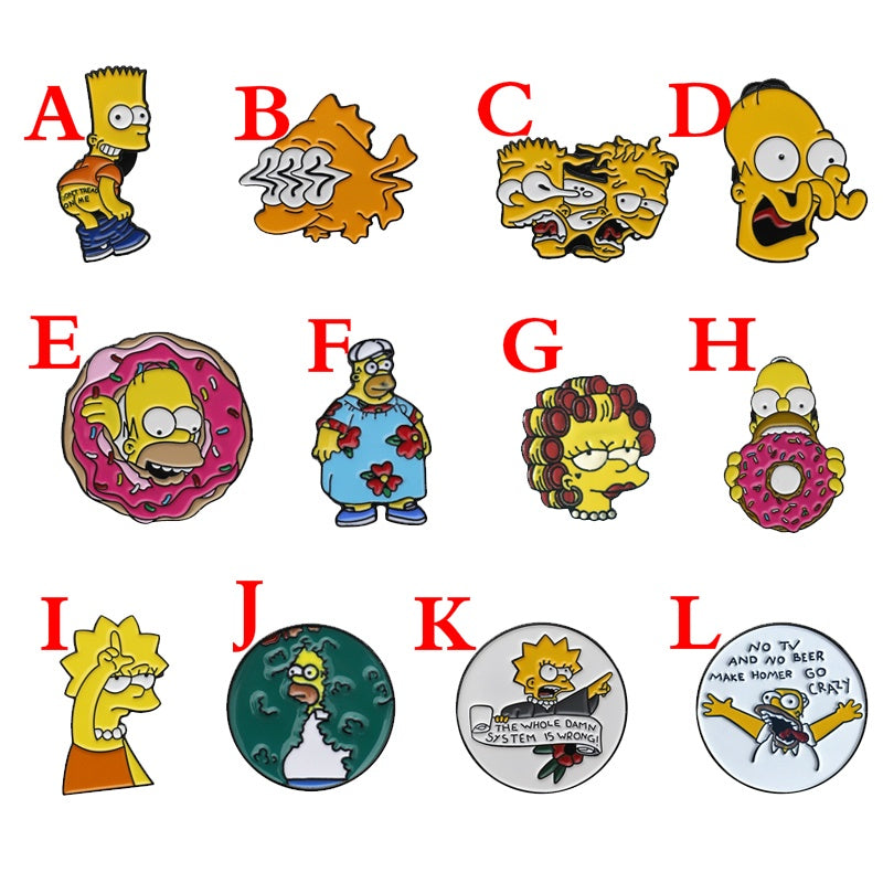 12 Styles Funny Simpsons Enamel Pin Creative Cartoon Simpson Brooch Pins Clothes Lapel Pin Badge Gift for Children Cartoon Jewelry