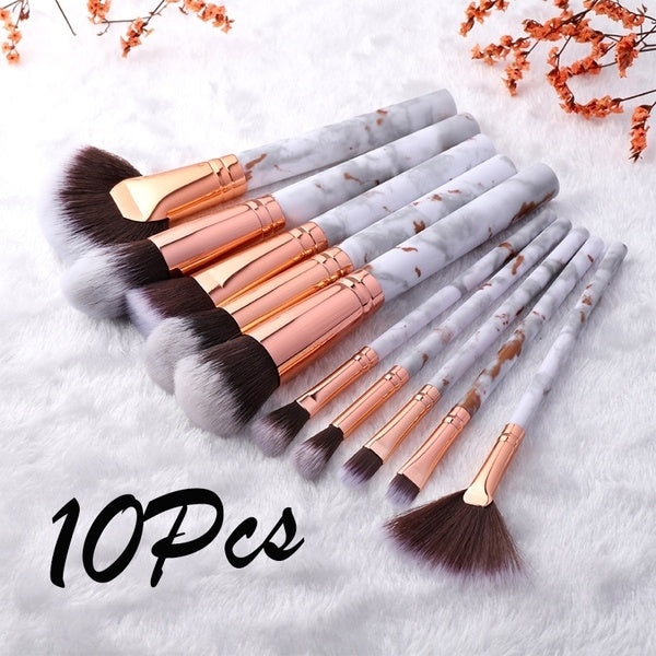 10Pcs Classic Marble Makeup Brush Set Professional Face Eye Makeup Brushes Women Makeup Tool Accessories