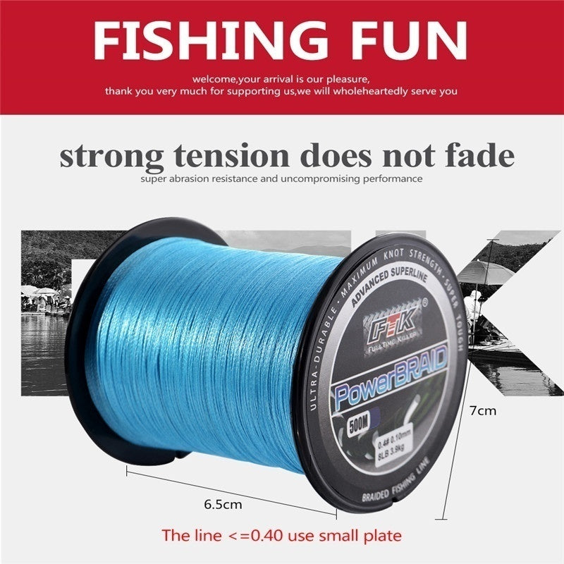 FTK 500M PE Braided Line Fishing cord 8-60LB 0.1-0.4mm 4 Strand Multifilament PE Wire 500M