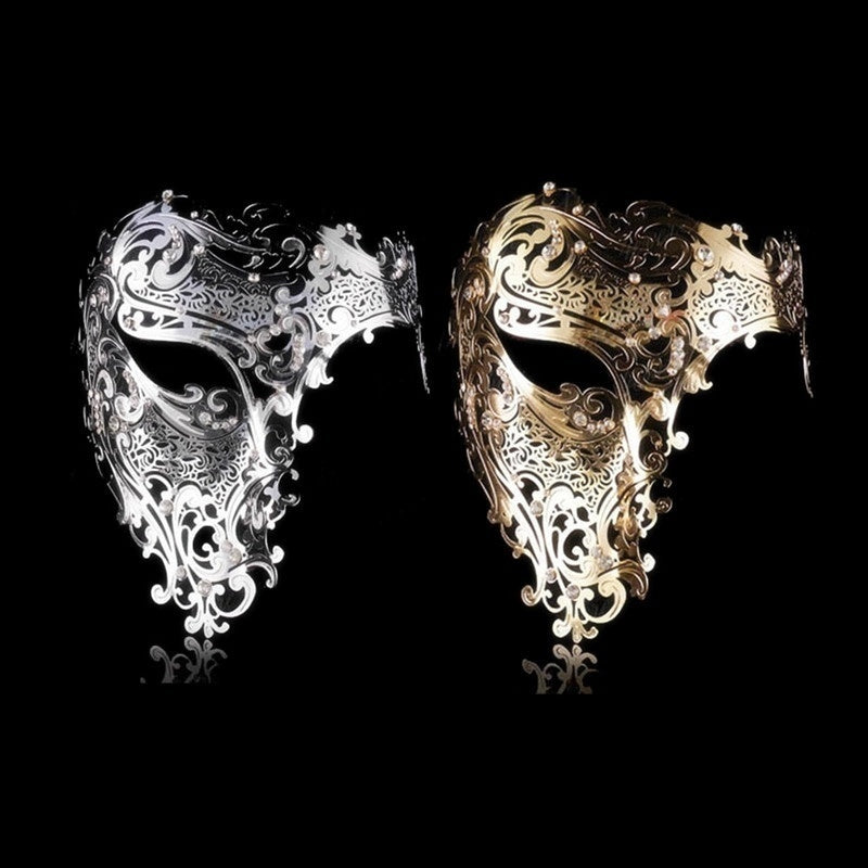 Phantom Laser Cut Venetian Mask Masquerade Metal Men Women Skull Filigree for Party Halloween Silver/Gold