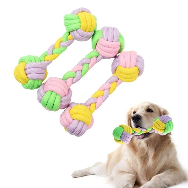 Funny Palying ball bite toy Clean teeth Colorful Chew Knot Cotton Bone Rope Dog Toy Pet Supplies