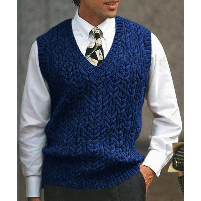 Autumn and Winter New Men's  Fashion Vest Cotton Knitted Sweater Vest Solid Color Sleeveless Men Casual Tops Knitted Sweater Vest