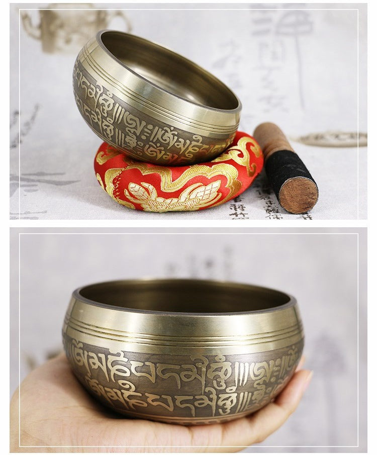 Classical Nepalese Hand Forged Singing Bowl, Tibetan Buddhism Carving Mantra Hammered Yoga Copper Chakra Hammer with Meditation Singing Bowl