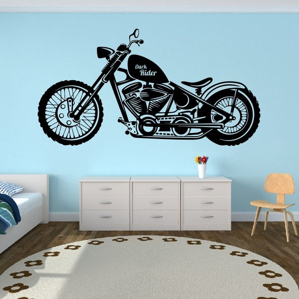Large Dark Rider Motorcycle Motor Wall Decal Nursery Kids Room  Motorbike Wall Sticker Garage Boys Home Decor