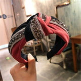 Sequin Patchwork Headband Orange Hairbands Women Color Block Hair Hoop Accessories Bowknot Cross Tie Wide Side