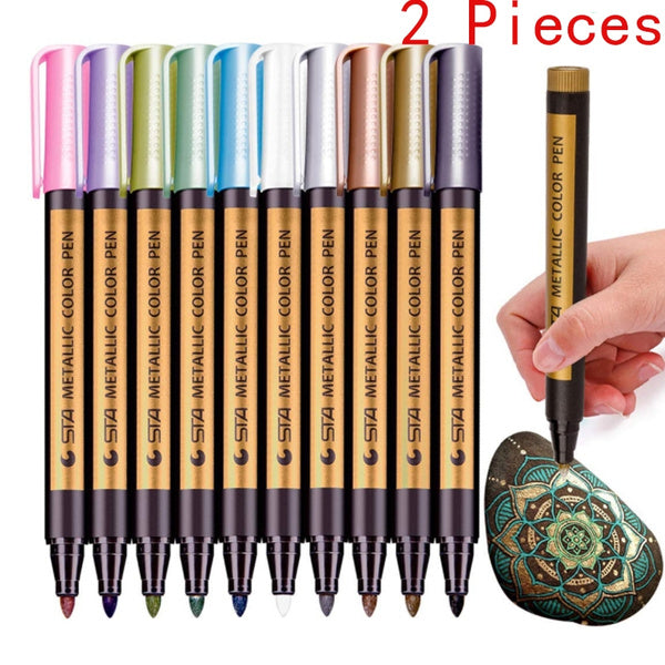 2 Pieces Premium Metallic Markers Pens, Metal Art Permanent Medium-Tip, Rock Painting,Paint Markers for Ceramic Painting, Glass, DIY Craft, Gift Card Making