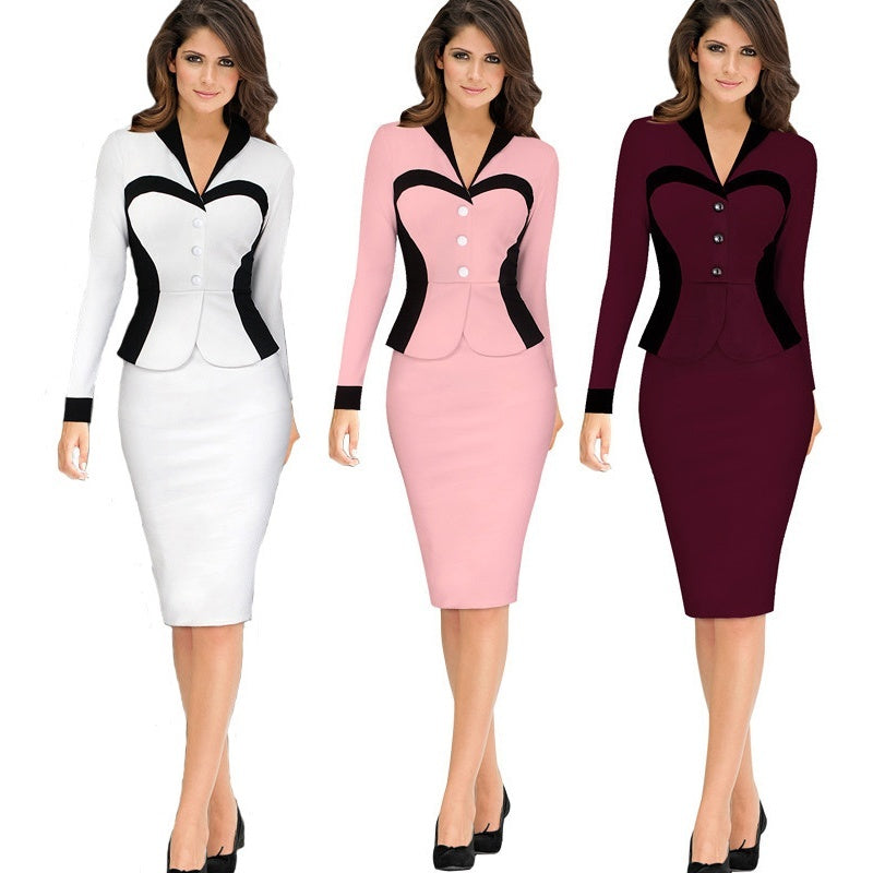 Elegant Women Dresses V-neck Long Sleeve Dress Ladies Office Bodycon Mini Dress OL Style
