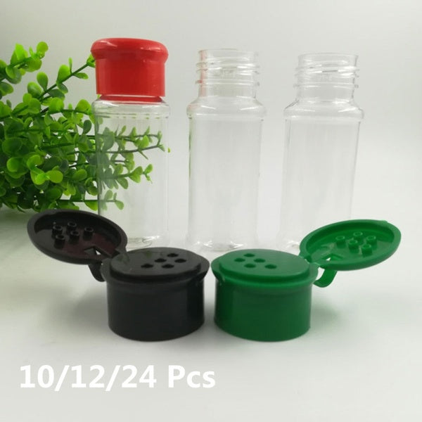 10/12/24 Pcs Seasoning Bottles Clear Plastic Cruet Condiment Can Pepper Shakers Spice Pot Salt Jar for Kitchen