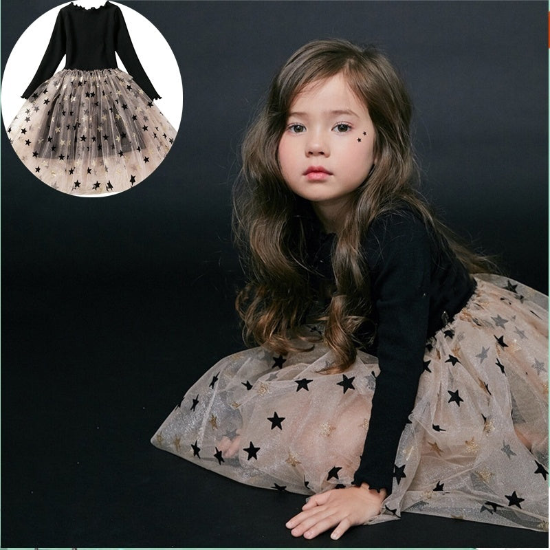 Princess Long Sleeve Dress Baby Girl Autumn and Winter Knitted Clothes Tulle Tutu Holiday Ball Gown Party Dresses with Stars Pattern for 3-8 Years