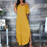 Women Long Loose V-neck Casual Dress Summer Baggy Maxi Beach Dress Plus Size S-5XL