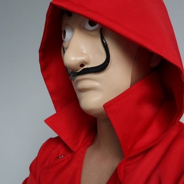 High Quality 1:1 Original Edition La Casa De Papel Red Costume Jumpsuits with PVC Mask Cosplay Dali Suit Money Heist Hot TV Series Halloween Party for Women and Men