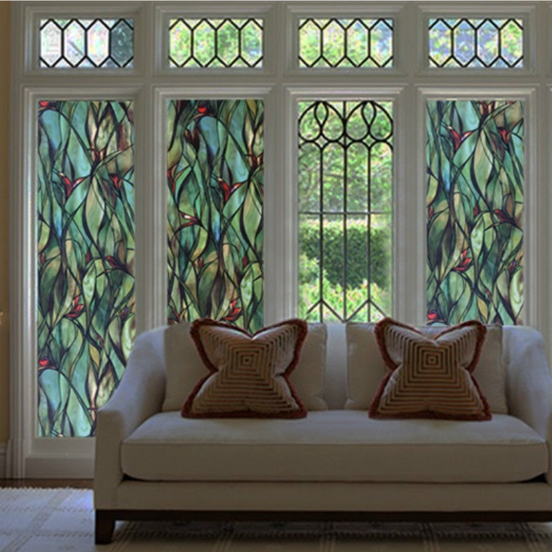 3D Orchid Stained Window Films Static Cling Glass Sticker Privacy Door Home Decor