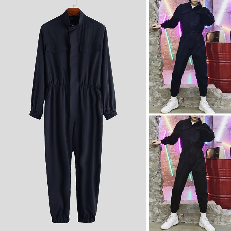 2019 Men Leisure Long Pants Jumpsuit Male Casual Loose Zipper Jumpsuit Dungaree Trousers Overalls