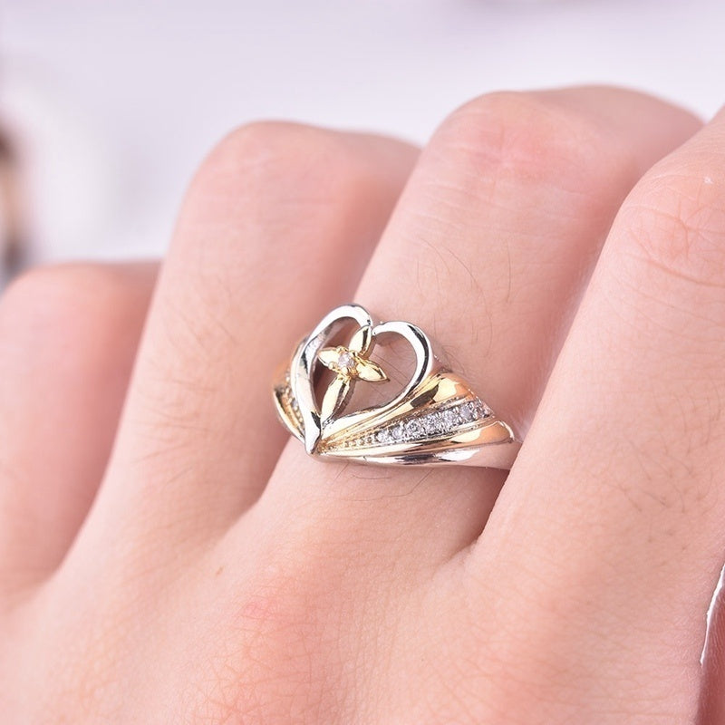 5 Styles 925 Sterling Silver Cross Diamond Love Heart Ring Symbols of God's Love and The Faith You Hold In Your Heart