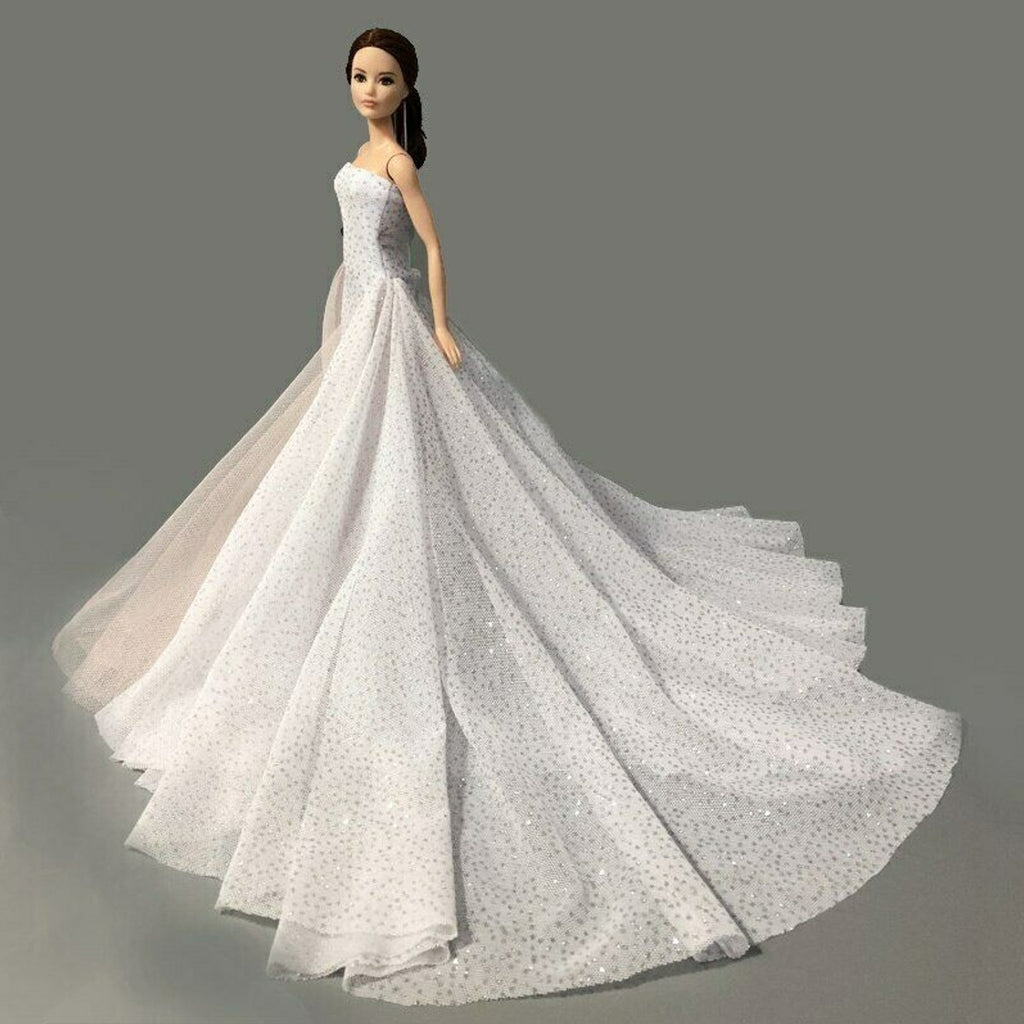Doll Decoration Sequin White Wedding Dress Clothes Outfits For 1/6 11.5Inch Girl Doll