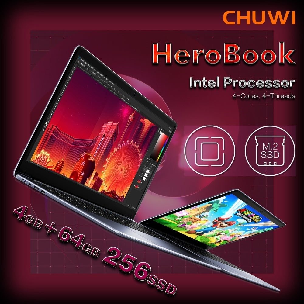 CHUWI Ultrabook PC Laptop Win10 14.1 Inch 4K Video 1920*1080 Resolution IPS FHD Screen Fashion Ultrabook Full Keyboard 4G RAM 64G+256SSD