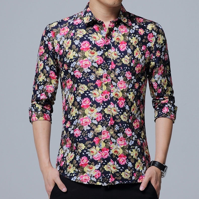Fashion Men Floral Shirt Casual Long Sleeved Shirt Slim Fit Formal Dress Shirt Hawaiian Style Blouses for Men