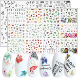 12 Designs Black Letter Nail Stickers Watermark Flamingo Flower Left Nail Transfer Adhesive Sliders